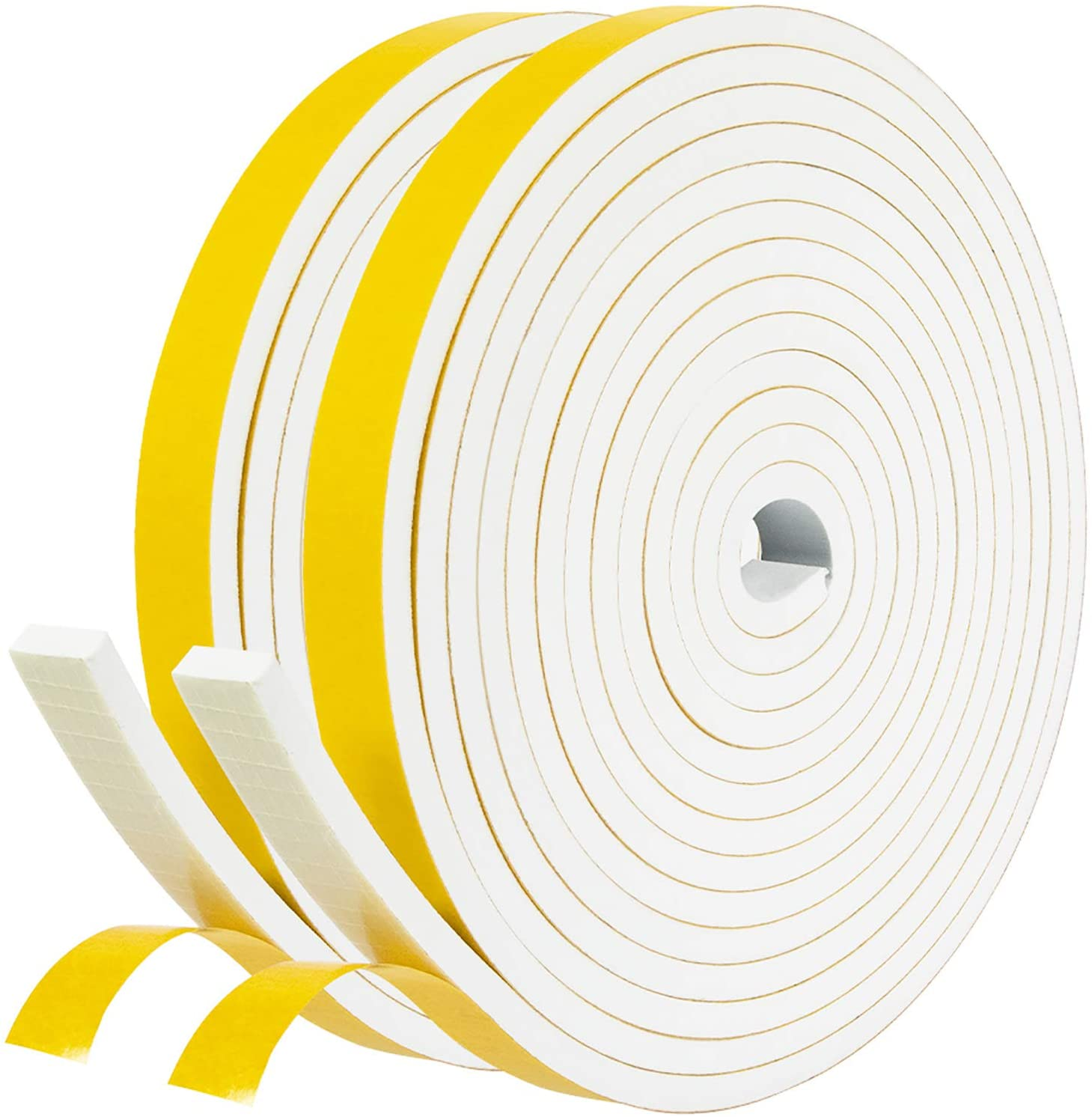 fowong White Door Weather Stripping 26 Feet, 1/2 Inch Wide X 1/4 Inch Thick, High Density Foam Tape Roll Neoprene Rubber Adhesive Weatherstrip Door Seal, Window Insulation, 2 Rolls X 13 Ft Each