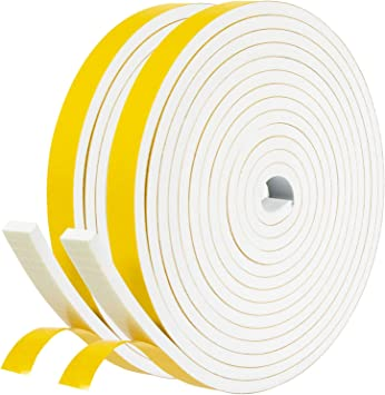 """Weather Strip 2 Rolls 1//2/"""" Wide X 1//4/"""" Thick Foam Seal Tape High Density"""