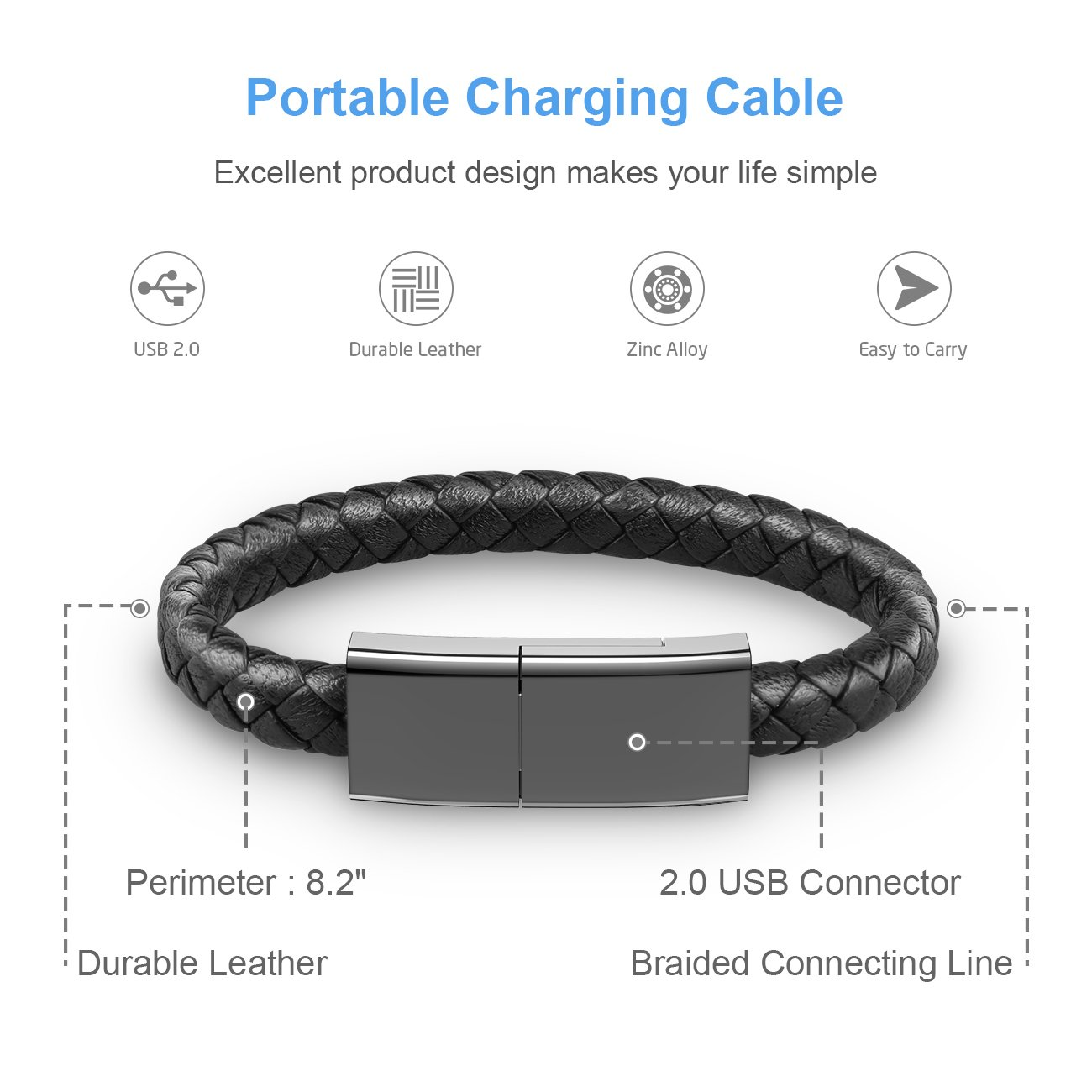 Auzev Bracelet Lightning Cable Data Charging Cord For Headphone Wire Diagram Additionally Iphone Charger As Well Durable Braided Leather Wrist Cuff Usb Plus X Ipad Black