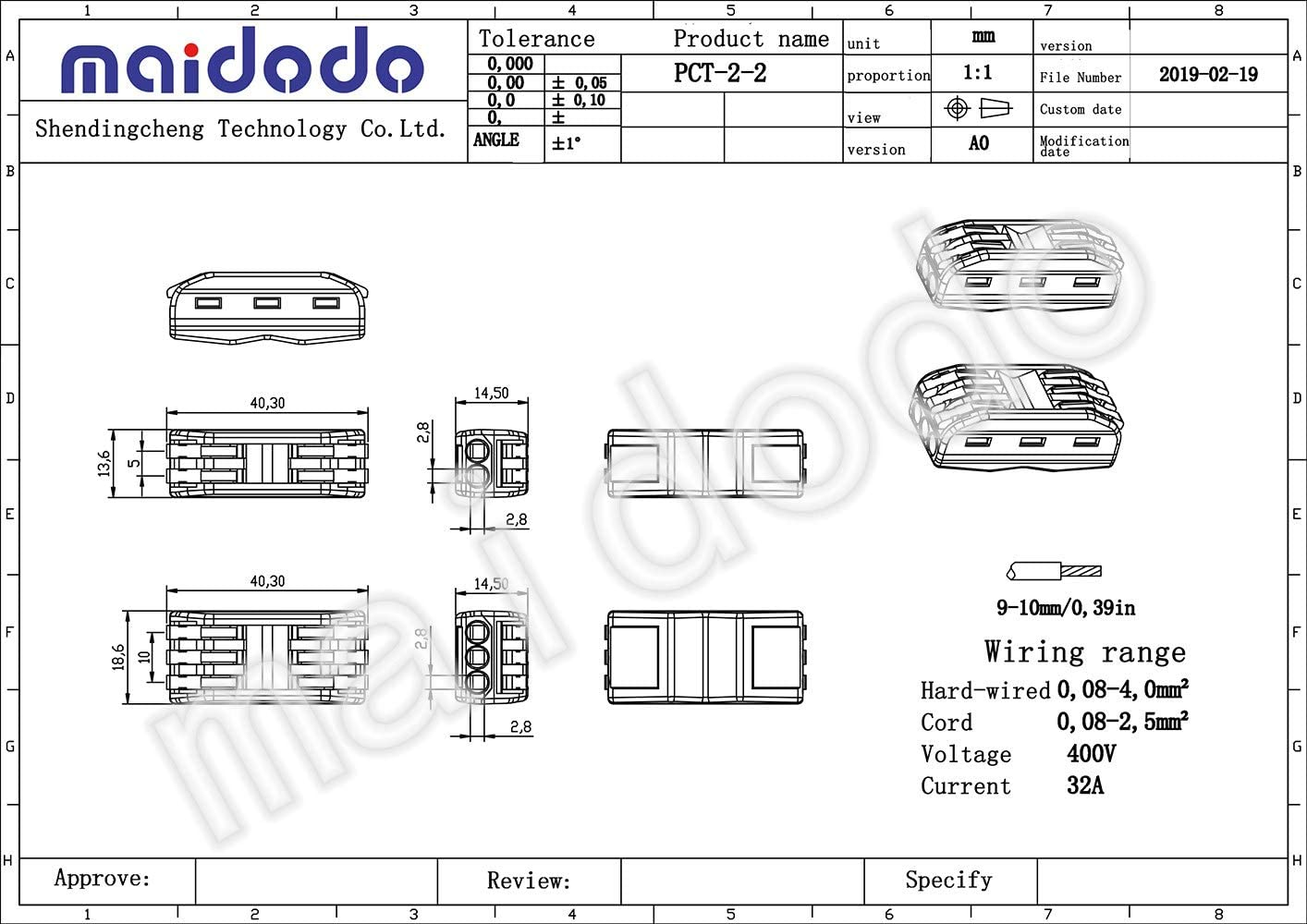 Colored Compact Wire Connectors,Universal Terminal Block Push-in Universal 3 in 3 Out with 10 Connector Holder Maidodo 10PCS 222-413B Terminal Block Connectors