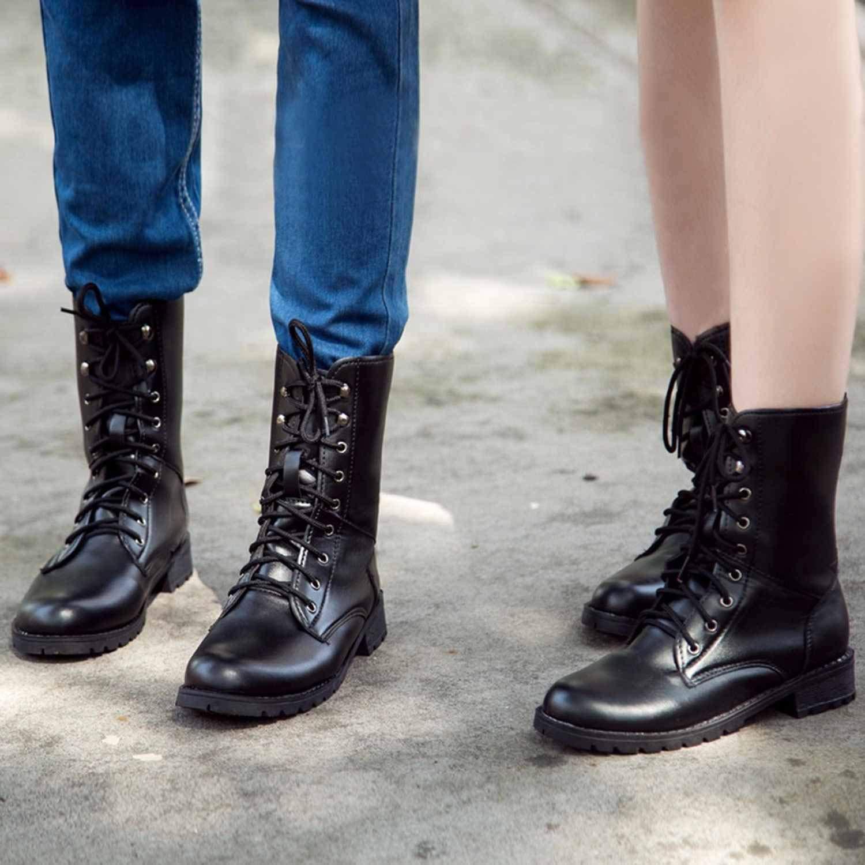 UYMKTRO SweaTshirt 2019 Women Brand Women Boots Lace Up Flat Biker Combat Black Boots Shoes Woman Martin Boots Ingenuity