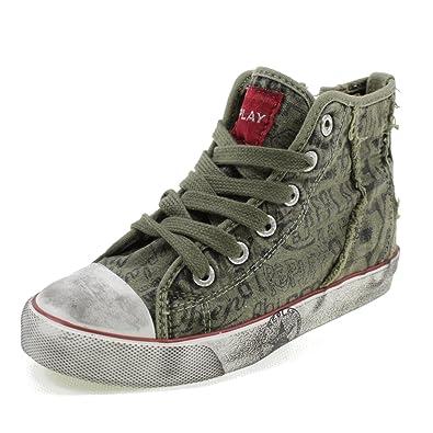 Hohe Schuhe in Canvas mit Spitzen und Zip Graffiti Unisex JV080098V Grün Größe: 35 Replay Wählen Sie Eine Beste KUiq9xkXmC