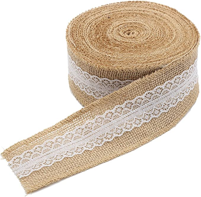 Jute Burlap Trim Craft Ribbon 3.2 ft, Brown, 12-Pack