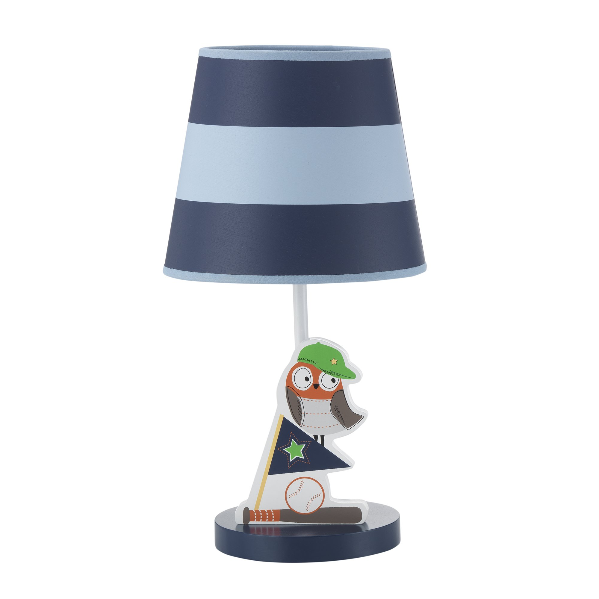 Bedtime Originals Baby League Stripe Sports Owl Lamp with Shade & Bulb, Blue