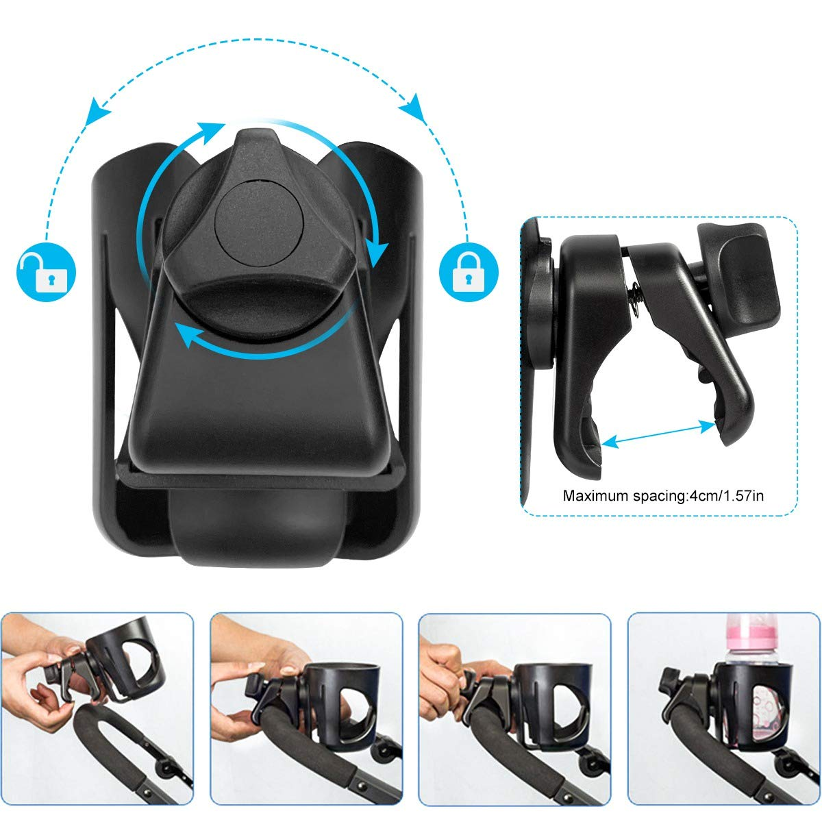 Pram Cup Holder, VDROL Stroller/Pushchair Cup Holder with 2 Hooks, Universal Baby Bottle Organizer for Stroller, Drink and Coffee Cup Holder for Baby Buggy and Bike, 360 Degree Rotation (Black)
