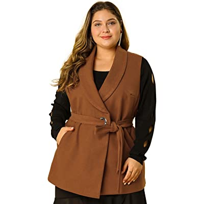 Agnes Orinda Women's Plus Size Belted Jacket Mid Thigh Business Casual Vest at Women's Clothing store