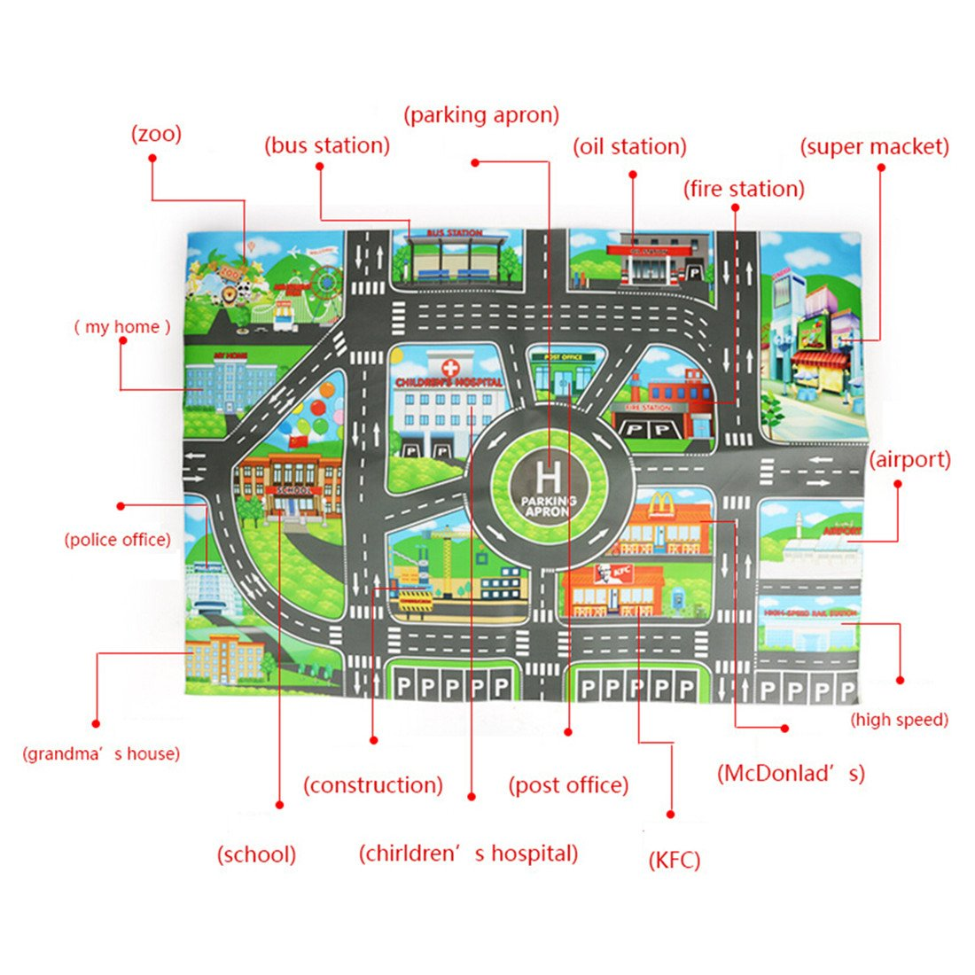 Amazon.com: Edtoy Children Play Car Carpet City Map Kids Toys: Toys & Games