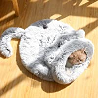 cat Bed cave Soft Faux Fur Self-Warming,≤16.5lb cat and Puppies Indoor Bed grey/21.6x21.6in