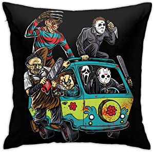 caimizogojocrz Michael-Myers Horror Halloween Decorative Throw Pillow Covers Cushion Cases for Couch Sofa Bed Living Room Decor 18 X 18 Inch (Black -2)