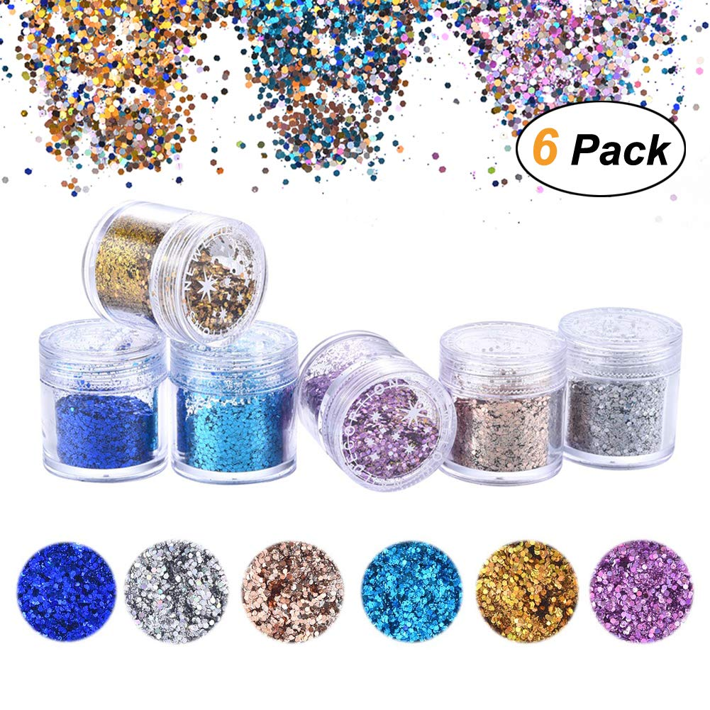 6 Colour Face Glitter - Chunky Glitter - Festival Glitter Cosmetic Face Body Cheeks Hair Nails Art Sparkling Decoration Glitter for Music Festival Wedding Party Masquerade Christmas Augola