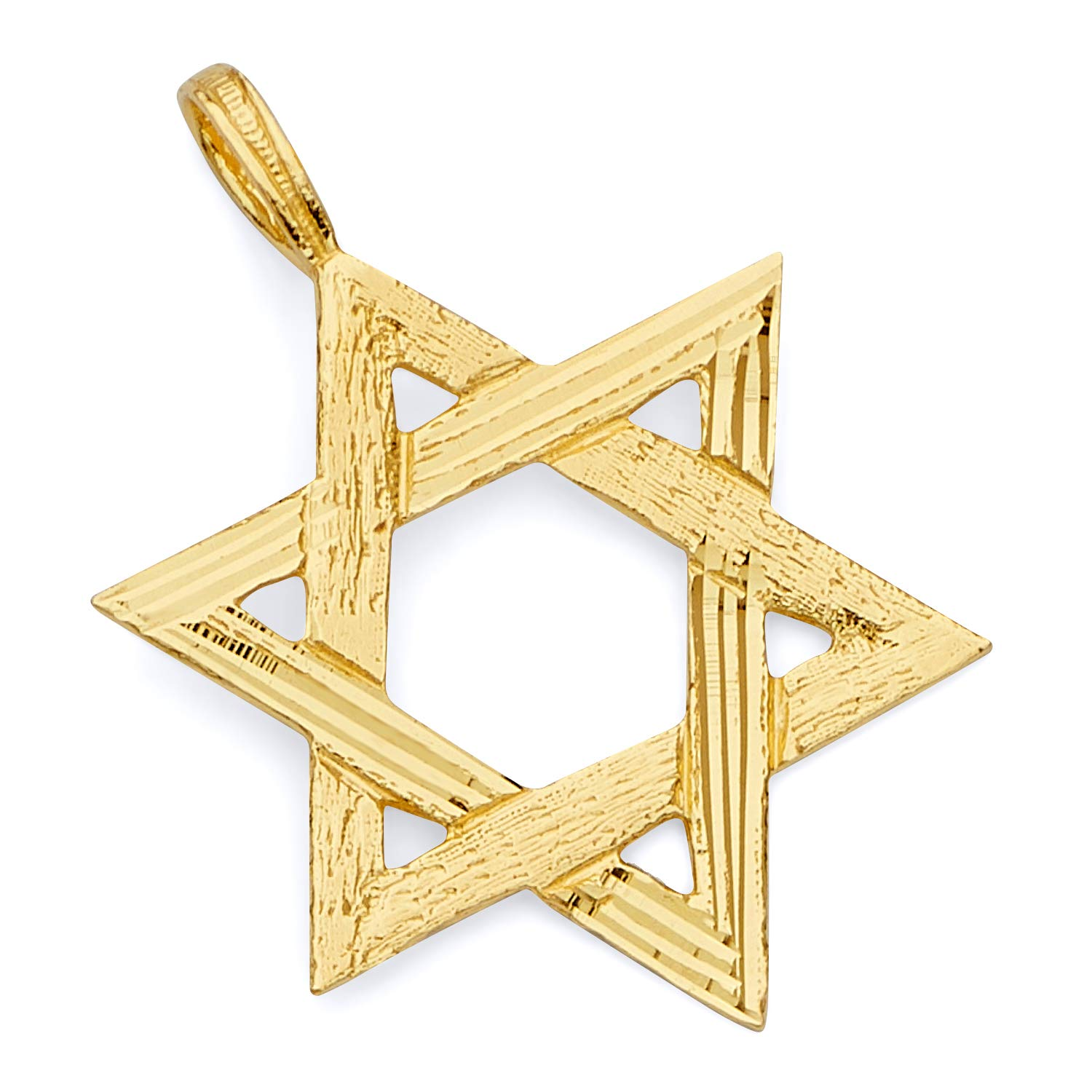 TWJC 14k REAL Yellow Gold Star of David Charm Pendant