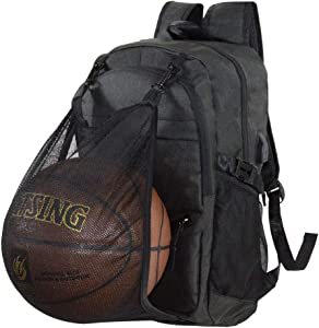 Basketball Backpack with USB Charging Port, Durable Men's Backpack for Outdoor with Ball Compartment (Fits 15.6 Inch Laptop)