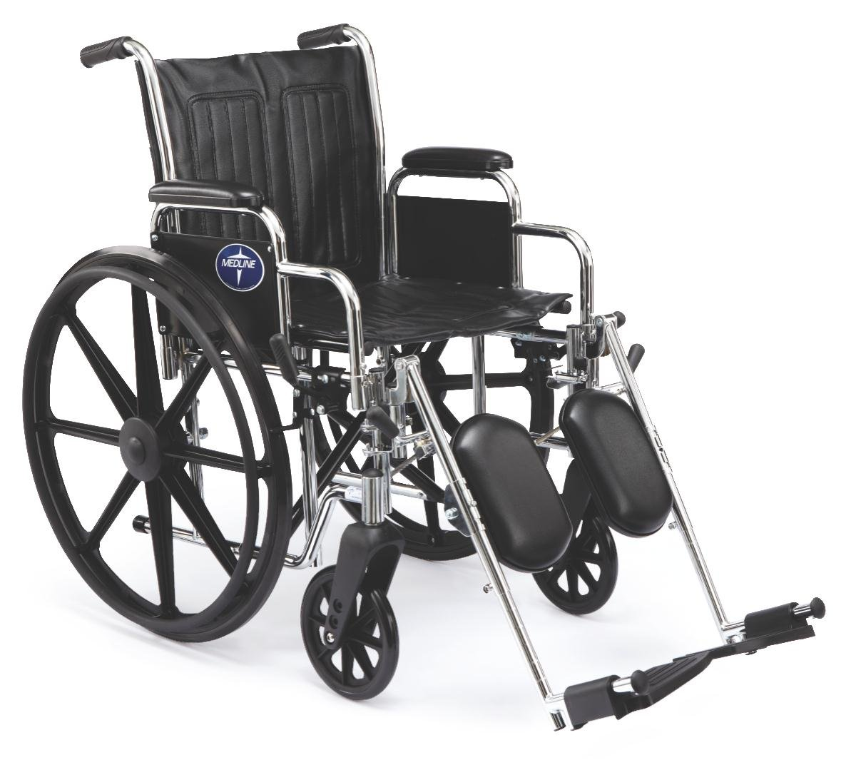 Medline Excel 2000 Wheelchair, 18'' Wide Seat, Desk-Length Arms, Swing Away Footrests, Chrome Frame