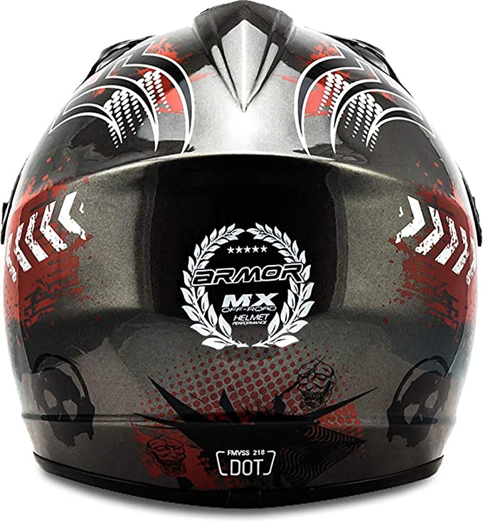 "Armor · AKC-49 ""Titan"" (silver) · Casco Moto-Cross · Enduro NINOS Quad Scooter Off-Road Racing motocicleta · DOT certificado · Click-n-Secure™ Clip · ..."
