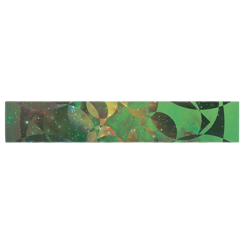 KESS InHouse Matt Eklund Galactic Brilliance Geometric Green Table Runner 16 x 180