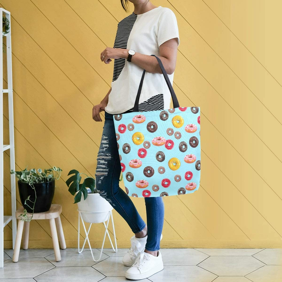 Titlesign Delicious Pizza Large Canvas Shoulder Tote Top Handle Bag for Gym Beach Travel Shopping