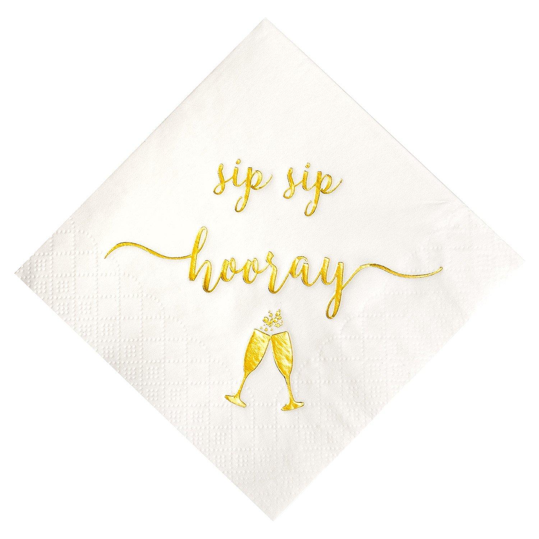 Crisky Sip Sip Hooray Napkins, Gold Foil Text Birthday Napkins, Wedding Napkins, Graduation Napkins, Bachelorette Napkins