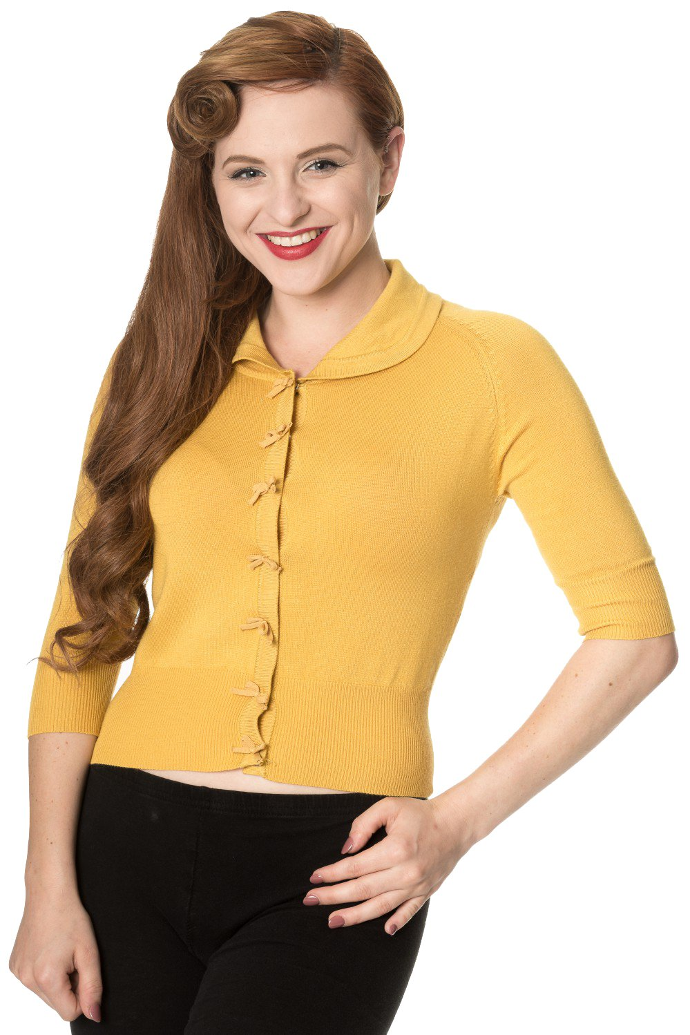1940s Style Sweaters and Knit Tops Banned Womens April Short Sleeve Cardigan $38.99 AT vintagedancer.com