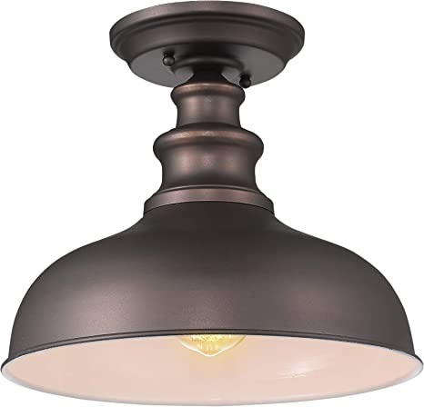 Zeyu Industrial Close To Ceiling Light Fixture 1 Light Farmhouse Semi Flush Lighting For Hallway Oil Rubbed Bronze Finish 02a391 Orb Home Improvement