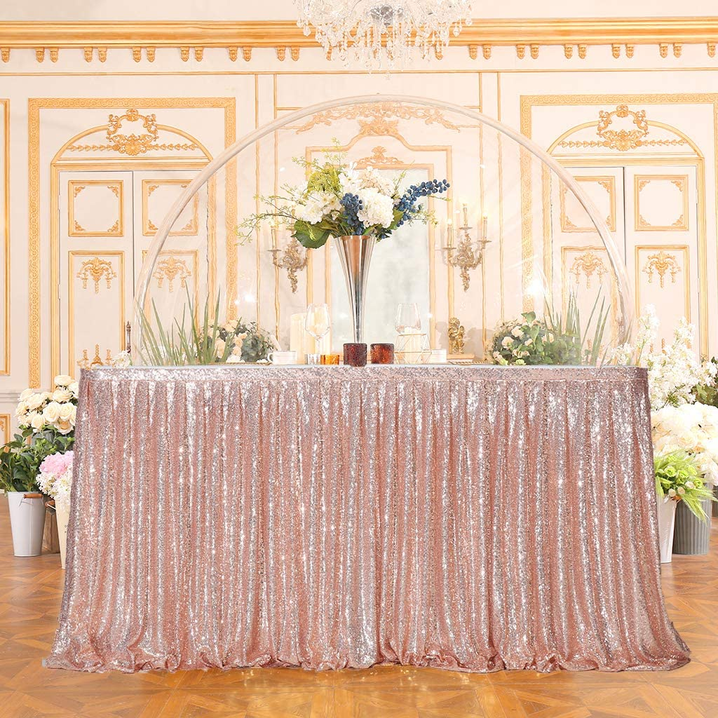 Juya Delight Sequin Table Skirt Rectangle Round Table Cover for Party Wedding Baby Shower Decoration(Rose Gold,L 6(ft) H 30in )