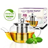 AckMond 600 ml Clear Glass Teapot in Apple Shape with Heat Resistant Stainless Steel Infuser (600 ml)