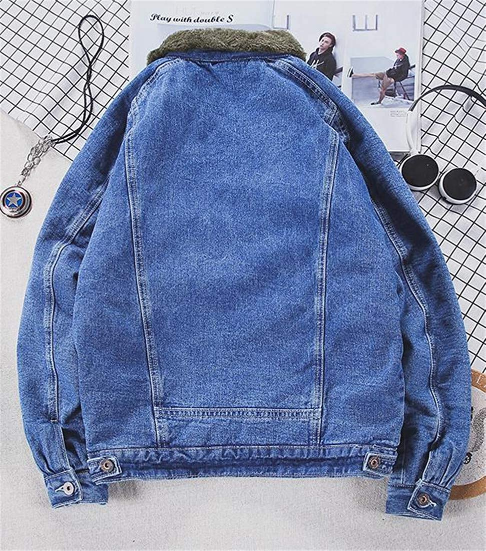 Sweatwater Mens Plus Size Winter Washed Fleece Denim Jacket Faux Fur Parka Coat