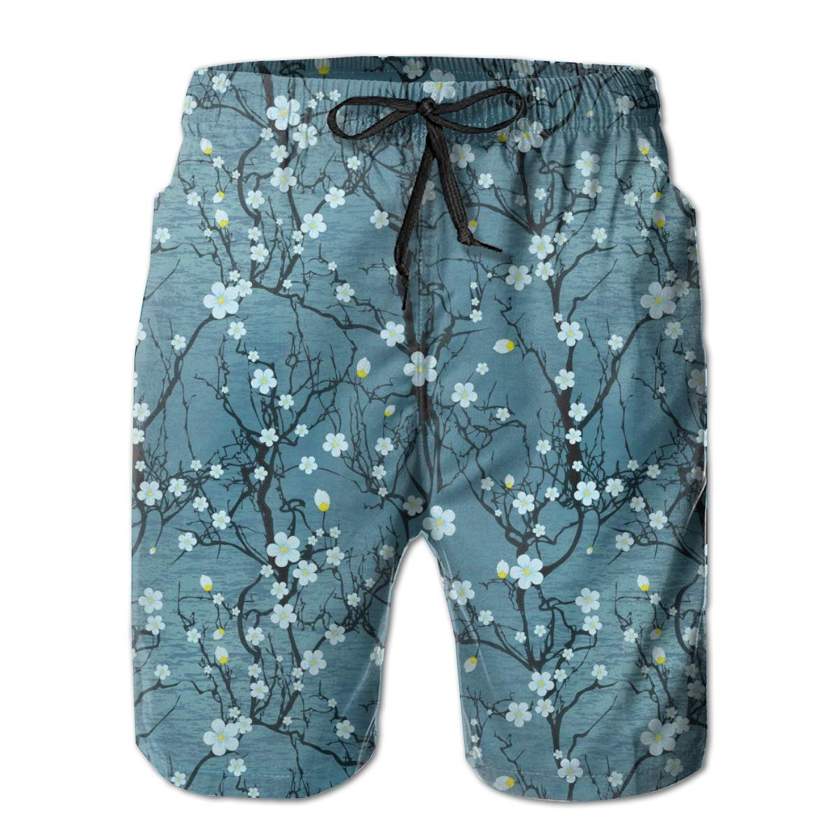 Winter Plum Flower Mens Quick Dry Beach Board Elastic Waist Shorts