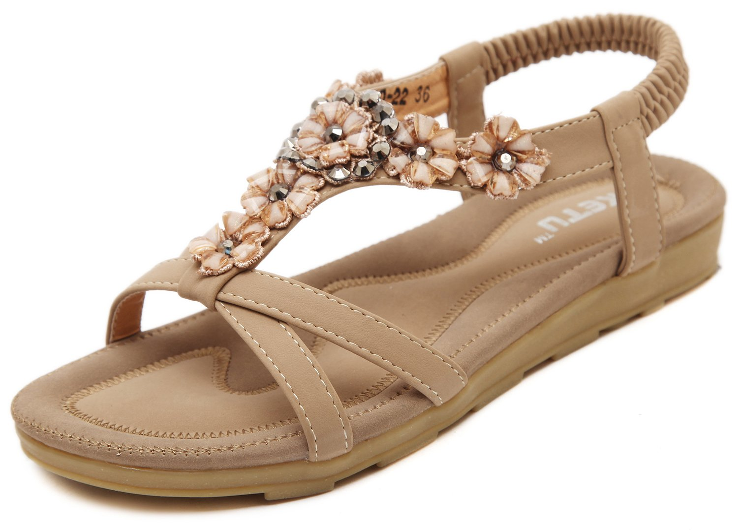 Women's Glitter Cross Strap Sandals, Bohemian Summer Flat Sandals, Nude Bling Floral Rhinestone Gem Elastic Back Strap, Comfy Shoes for Dressy Casual Jeans Daily Wear Beach Holiday Vacation Everyday