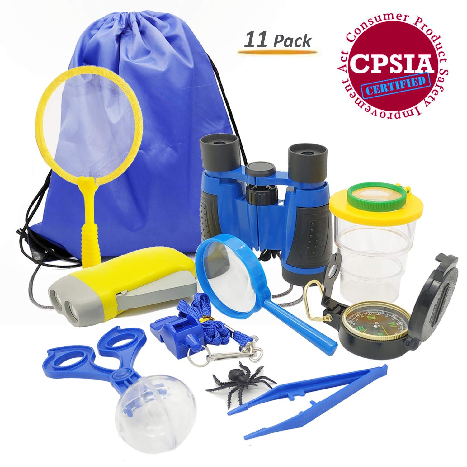 Kids Adventure Kit, 11-in-1 Outdoor Exploration Gift Set for Camping, Hiking and Pretend Play - Including Binoculars Compass Flashlight Bug Catcher Container Whistle Butterfly Net Magnifier Backpack