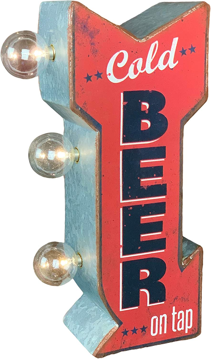 Cold Beer On Tap Doubled Sided Marquee Sign With Led Lights Arrow Shaped Design With A Retro Distressed Look Home Kitchen Amazon Com