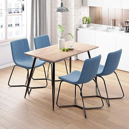 Joolihome - Juego de 4 sillas y Mesa de Comedor Rectangular con 4 ...