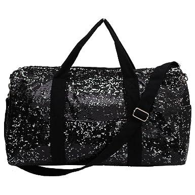 Adorable 2 Tone Sequin Cheer Dance Yoga Girly Duffle Bag (Black) 96a28e84ec2be