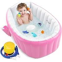 Baby Inflatable Bathtub, UUHOME Portable Infant Toddler Bathing Tub Non Slip Travel Bathtub Mini Air Swimming Pool Kids…