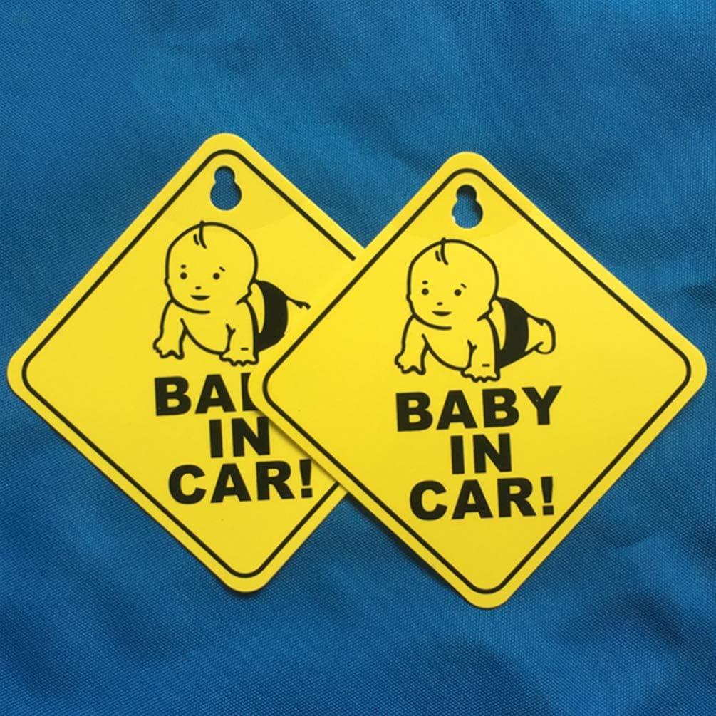 Signe voiture amovible avec ventouse autocollants davertissement de s/écurit/é b/éb/é paquet de 2 NUOBESTY Signe b/éb/é dans la voiture