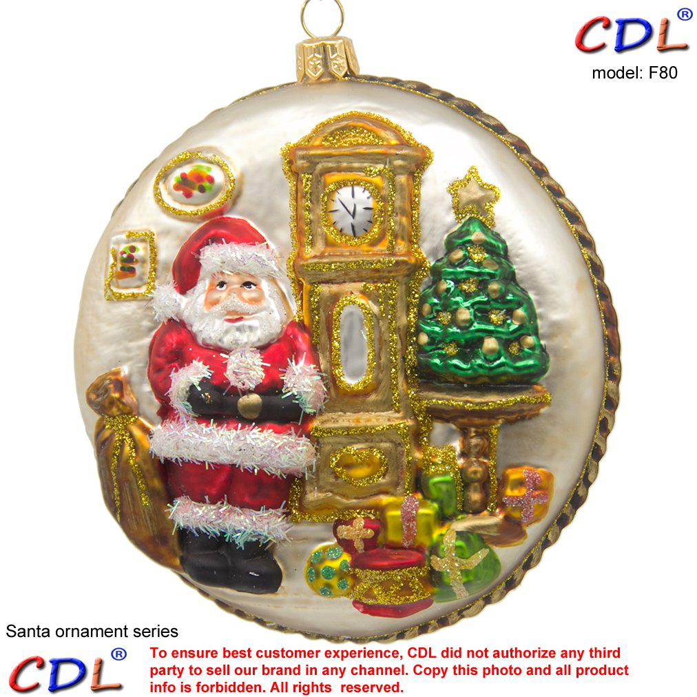 CDL 5 Santa face//head double side disc with rick decoration of Holly leaves and gifts Glass Hand Painted Blown Traditional//Glitter Christmas Glass Tree Ornaments F80
