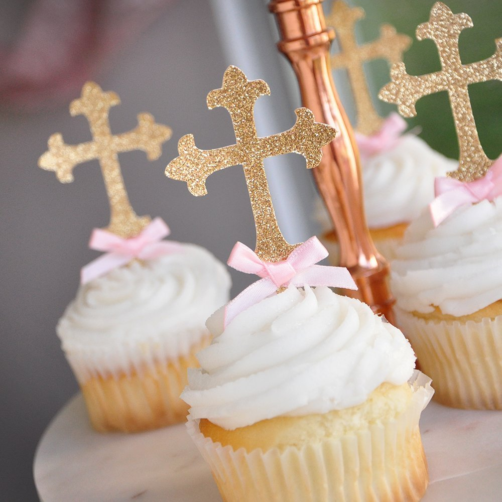Christening Decorations. Baptism Cross Cupcake Toppers 12CT.