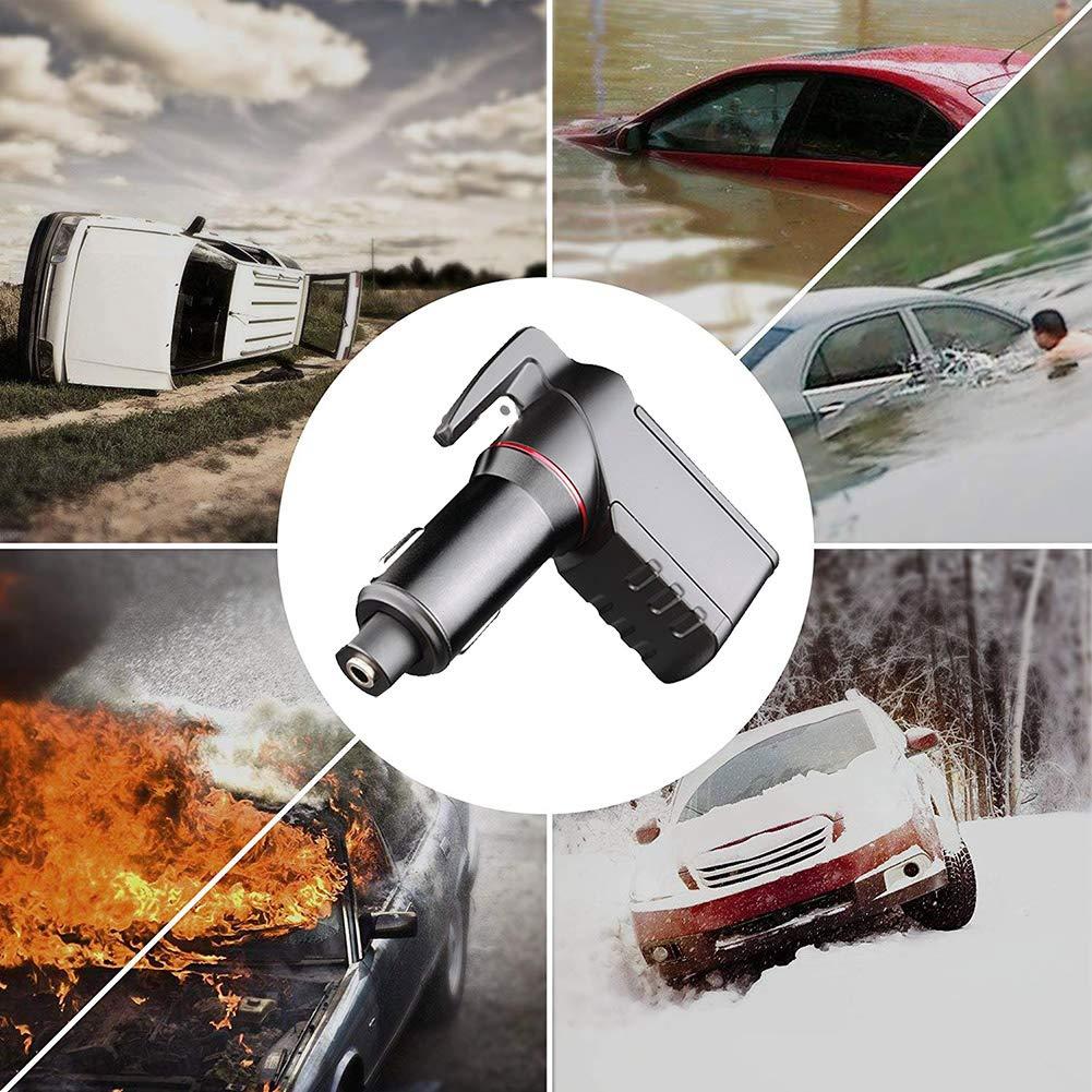 coupe-ceinture de si/ège ressort de type ouvreur de fen/être double port USB Outil d/évacuation durgence CAPTIANKN voiture de secours marteau de s/écurit/é de charge