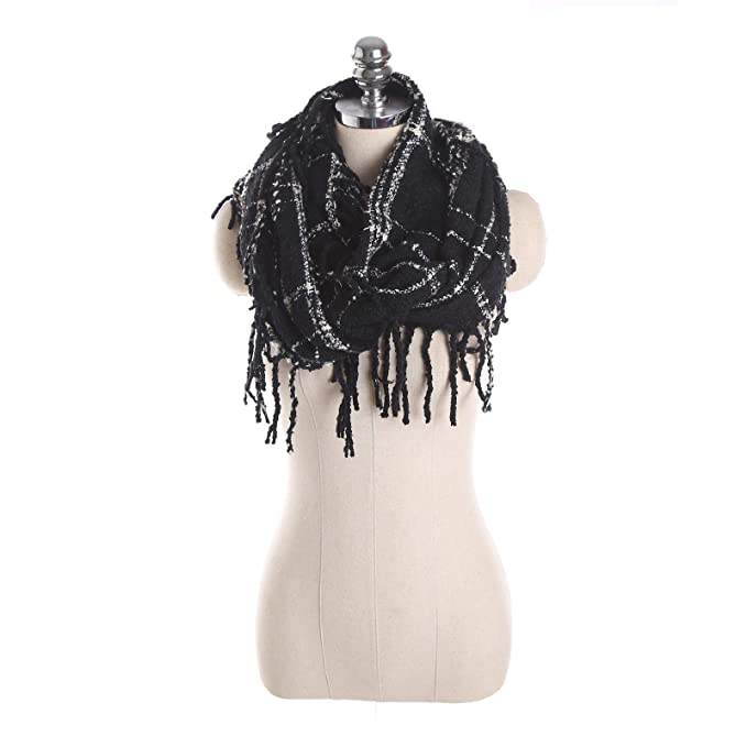 471e2473f8d5 Elonglin Femme Écharpe Plaid en Laine Acrylique Foulard Long Chaud Vogue  Automne Hiver 1 80