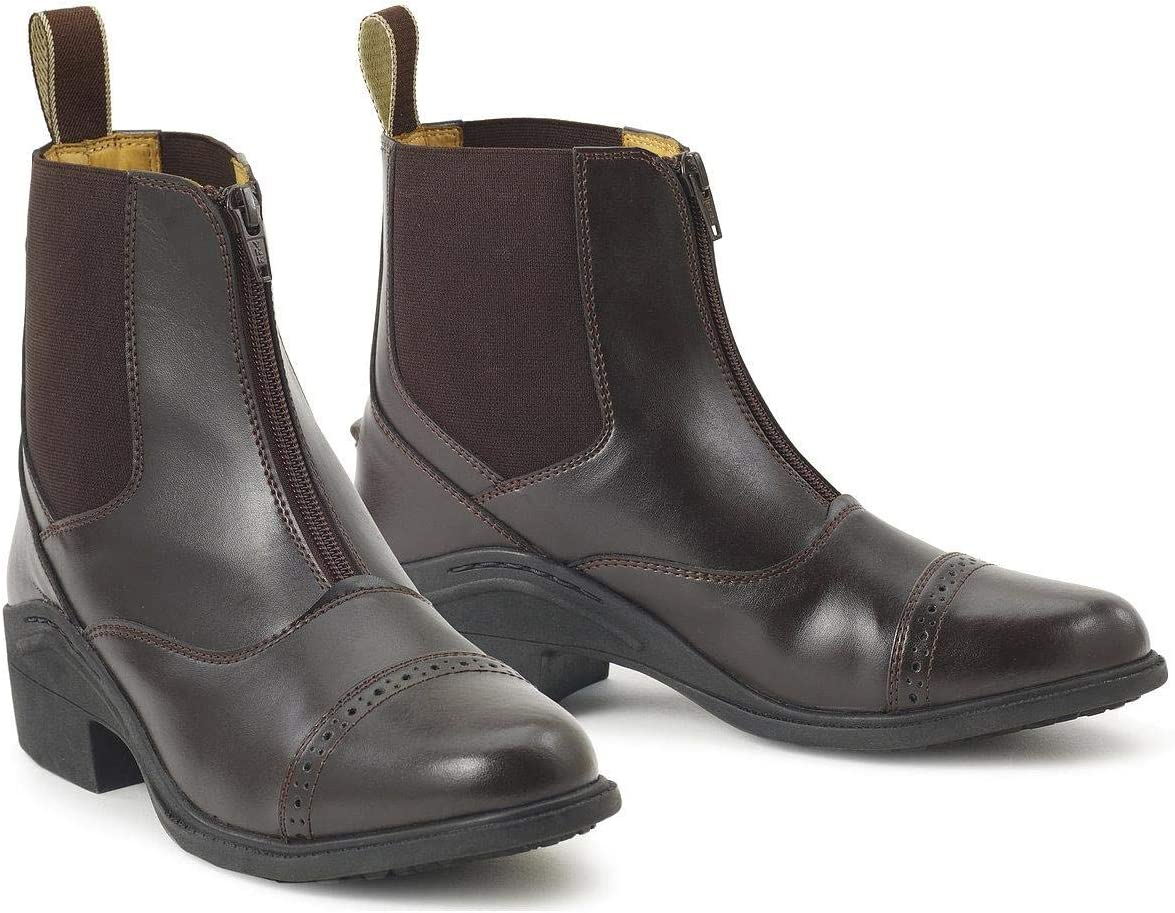Ovation Boys' Synergy Zip-Front Paddock Boot Brown 3 US