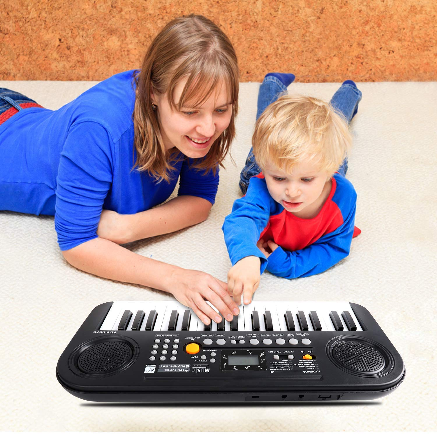 TWFRIC Kids Piano Keyboard, 37 Keys Dual-Speakers Piano for Kids LCD Screen Display Portable Keyboard 2019 Newest Piano Keyboards Music Educational Toy for Boys Girls Child (Black) by TWFRIC (Image #3)