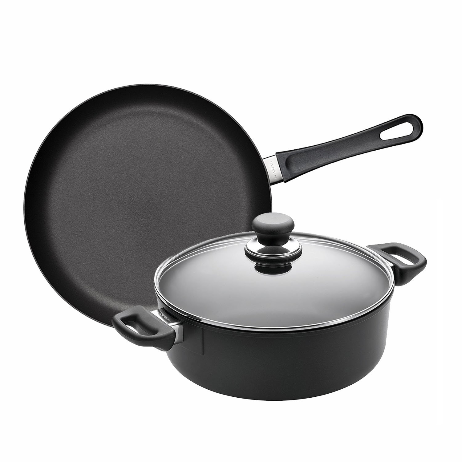 Scanpan Classic 3ピース調理器具セット、11インチFry Pan and 3- ¾ -quart Low Stew Pot with Lid   B079Z46C3K