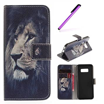 new concept da1fb de35b EMAXELERS Samsung Galaxy S8 Case Wallet, PU Leather Colorful Design  Painting Wallet Case Book Style Flip Stand Protective Case for Samsung  Galaxy ...