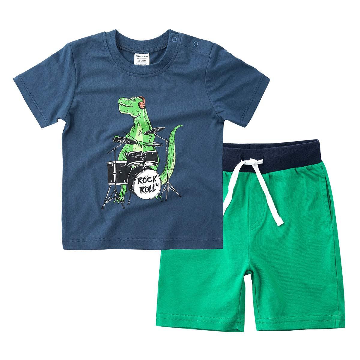 Little Boys Summer Clothes Dinosaur T-Shirt and Cotton Shorts Set Blue Size 6T