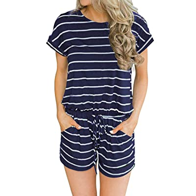 Artfish Women's Summer Striped Jumpsuit Casual Loose Shorts Jumpsuit Rompers: Clothing