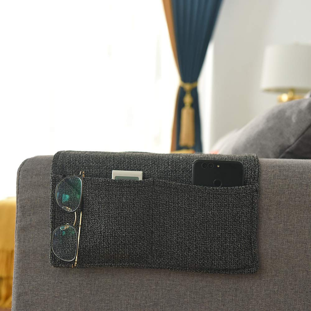 Lewing Sofa Chair Armrest Organizer Bedside Storage Organizer Bedside Caddy Table cabinet Storage Organizer for tablet Magazine Phone Remotes - All Within Arms Reach Black