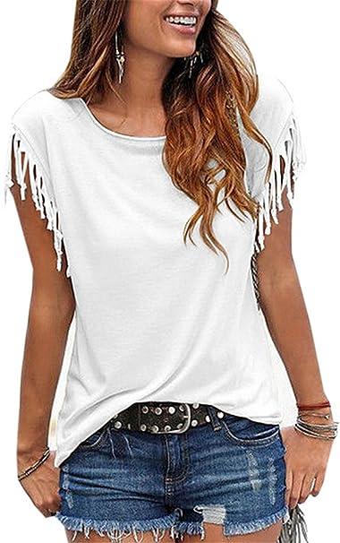 YOGLY Camiseta de Manga Corta de Borla Camisas Mujer de Talla Grande Blusas Camiseta para Mujer