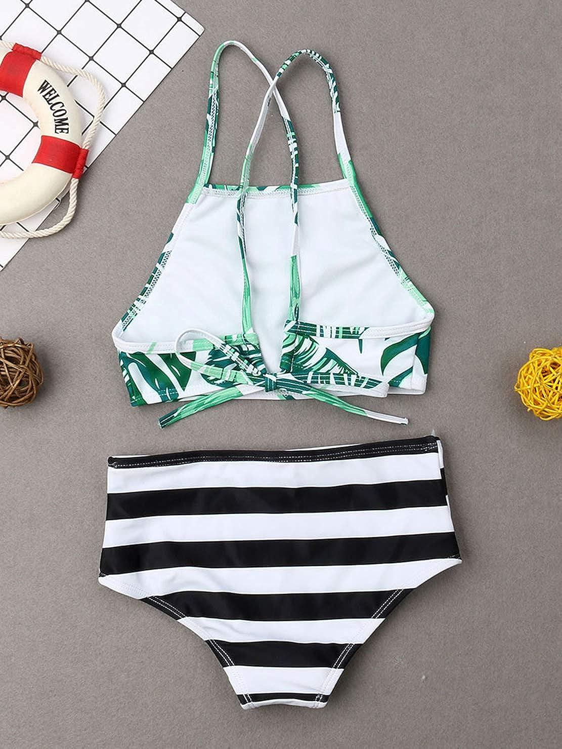 Family Matching Leaf Print Swimsuit Parent-Child Striped Bathing Suit 2 Pieces Bikini Sets 1 Piece Swim Shorts