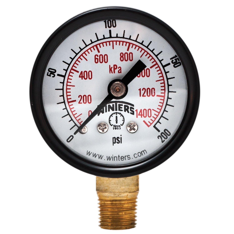 """Winters PEM Series Steel Dual Scale Economy Pressure Gauge, 0-200 psi/kpa, 1-1/2"""" Dial Display, +/-3-2-3% Accuracy, 1/8"""" NPT Bottom Mount"""
