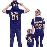 Minetom Mujer Manga Corta T-Shirt Ropa Familia Camiseta Papá Mamá Baby Kid Impresión Casual Moda Tops Verano Túnica Pullover
