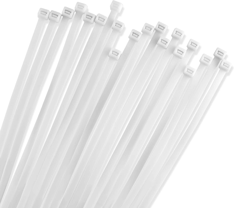 "100 Pack UV Resistant Long Nylon Cable Ties 50lb Strength GTSE 12/"" White//Clear Zip Ties Self-Locking 12 Inch Tie Wraps"